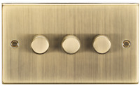 Antique Brass Rounded Edge 3G 2-way 10-200W (7-150W LED) trailing edge dimmer