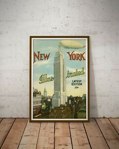 """1934 New York Illustrated POSTER! (up to 24"""" x 36"""") - Empire State - Airship"""