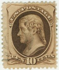 Scott #188,10 cent Jefferson ,secret mark,used ,light cancellation