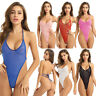 Sexy Women See Through Mesh Swimwear Swimsuit Monokini Bikini Bodysuit Sleepwear