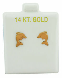 DOLPHIN STUD EARRINGS 14k ROSE GOLD * New With Tag *