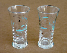 New ListingLibbey Mediterranean atomic Mcm fish juice glasses, turquoise & silver, 2 pcs