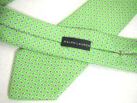 "Ralph Lauren Black Label Mens Necktie Tie Lime Green Purple Paisley Silk 60"""