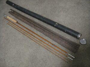 "Vintage Wright McGill Granger 4-Pc Victory 9'6"" Bamboo Fly Rod+2 Tips+Sock+Tube"