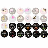 Baby Monthly Milestone Stickers First Year Belly T-Shirt Sticker For Girl, 24pcs