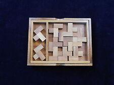 Eleven L's wood brain teaser puzzle- get pcs into box