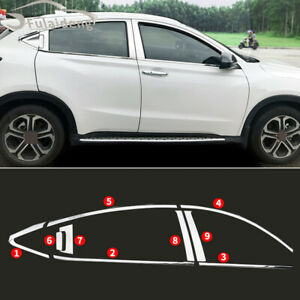 For Honda Vezel HR-V 16-18 Chrome Stainless Window Sills+Pillar Posts Cover Trim