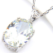 Classical Oval Cut Shiny Natural White Fire Topaz Gems Silver Necklace Pendants