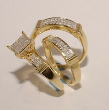 Gold & Diamond Trio Bridal Ring Wedding & Engegement Bride &Groom Set Brand New