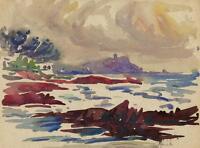 IMPRESSIONIST COASTLINE Watercolour Painting JOHN THIRTLE FRSA c1930
