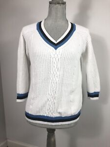 Talbots Womens Medium Petite White Blue Trim Cable Knit Vneck Sweater