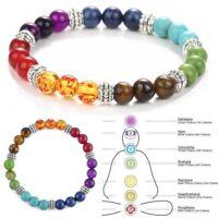 7 Chakra Healing Balance Prayer Beaded Bracelet Yoga Reiki Stones Christmas