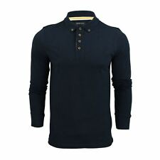 Mens Polo T Shirt Brave Soul Lincoln Long Sleeve Cotton Pique Casual Top Navy Small