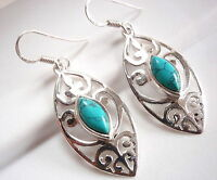 Blue Turquoise Filigree Earrings Sterling Silver Dangle Corona Sun Jewelry New