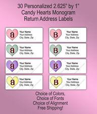 30 Custom Wedding Monogram Printed Return Address Labels ~ Candy Hearts