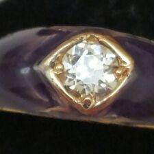 Antique 18K Yellow Gold .50ct Old European Cut Diamond Blue Enameled Ring, 1880s