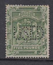 Rhodesia SG12, 5 £ verde salvia, Usado. Cat Perfin £ 450.