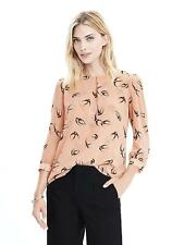 Banana Republic Swallow Print Blouse Dark Champagne Medium 308187-01-1 J