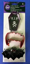 Vampire Cookie Cutter Set of 3 coffin, fangs & bat Wilton Halloween October New