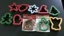 Lot of 10 - Christmas Cookie Cutters - Snowman, Mitten, Gingerbread Man, Tree