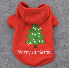DOG PUPPY RED GREEN XMAS CHRISTMAS TREE SOFT FLEECE HOODIE JUMPER TOP - FREE P&P