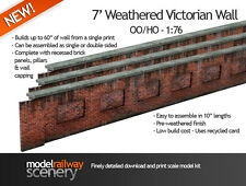 PRE-CUT 7' VICTORIAN RED BRICK LINESIDE WALL CARD KIT- OO SCALE FOR HORNBY KX006