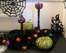 Halloween Gourds & Pumpkin Centerpieces - Glitter/Gold -Flower Arrangement -5 Pc