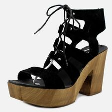 NWT RRP$160 SIZE 9.5w SCOOP NYC BLACK SUEDE WOOD LOOK PLATFORM STRAPPY SANDAL