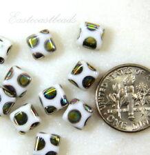 PRECIOSA Tile Beads, 6x6mm, Opaque White w/Peacock Finish, Czech Beads 20 Pcs