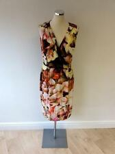 LK BENNETT TEOS MULTI COLOURED FLORAL PRINT V NECK DRESS SIZE 14