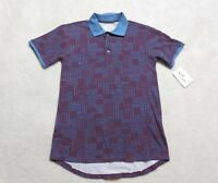 New Lularoe Bud Polo Shirt Mens Extra Small Maroon Blue Top Adult Rugby Casual
