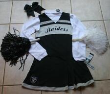 CHEERLEADER COSTUME OAKLAND RAIDERS POM POMS 14 GIRL'S POM POMS BOW DRESS SET