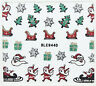 Christmas Glitter Trees Snowflakes Sleigh Gifts 3D Nail Art Stickers Decals