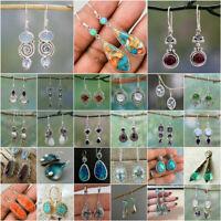 925 Silver Hook Moonstone Opal Dangle Drop Earrings Ear Women Fashion Jewelry