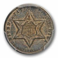 1861 3CS Three Cent Silver Piece PCGS AU 53 About Uncirculated Civil War Date !