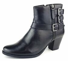 Women Leather Ankle Boots Mid Block Heel Double Buckle Western Shoes Size Zip