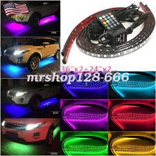 4PCS 7 Color LED Lights Strip Trim Car Underbody Glow Body Decoration System Kit