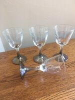 SET OF 4 Mid Century Modern Silver Fade Ombre 5-oz Wine Glasses; Dorothy Thorpe?