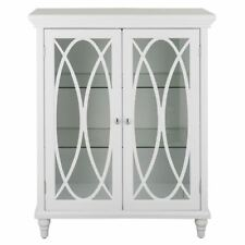 Florence Floor Cabinet with 2 Glass Doors in White for Bathroom Storage