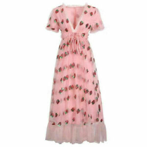 Woman Strawberry Short Sleeve Sequins V Neck Midi Dress Mesh Bandage Evening