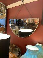 Original -  1920's Art Deco Pie Crust Demi Lune Mirror