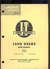 John Deere It Shop Manual Tractor 70 Diesel / Jd-8