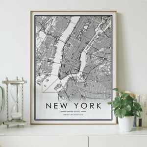 New York City Lines Map Wall Art Poster Print. Great Home Decor
