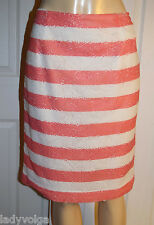 WORTH Pink Coral & White Striped Knee-Length Pencil Sequin Skirt size 8 $378 NWT