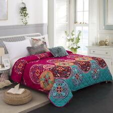 Oriental Mandala Queen King Size Quilted Bedspread Set Throw Blanket Bohemian