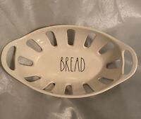 Rae Dunn BREAD Basket Bowl WHITE / IVORY W/ BLACK Large Lettering NEW HTF