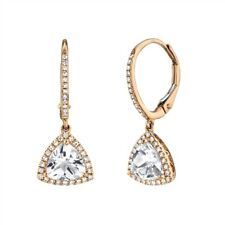 White Topaz Diamond Triangle Earrings 14K Rose Gold Trillion Dangle Drop