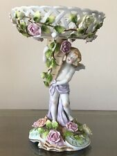 Vintage Porcelain Figurine Winged Cherub Roses Pedestal Reticulated Compote