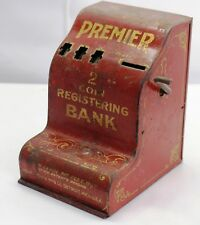 Vintage Register Coin Bank Metal Toy Bank Uses Nickels and Pennies