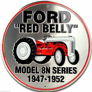 Ford Model 8N Red Belly Tractor Embossed Metal Novelty Round Sign